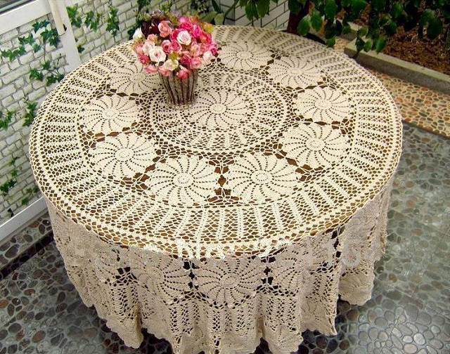 Vintage-Handmade-Crochet-Tablecloth-1
