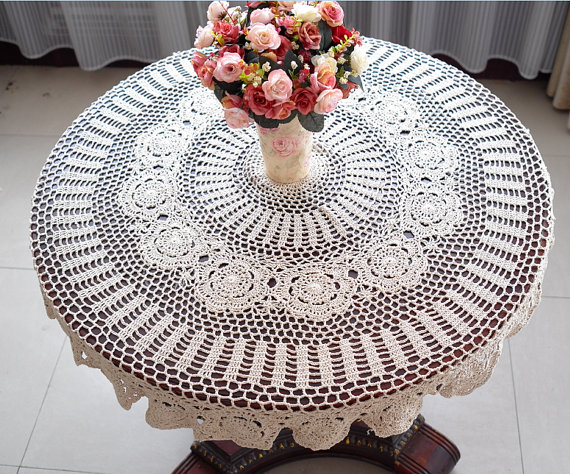 Vintage-Handmade-Crochet-Tablecloth-5
