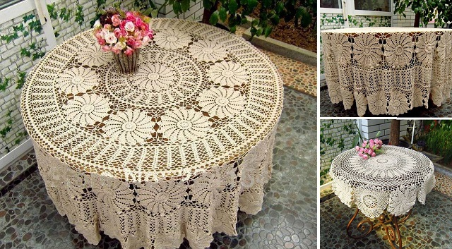 Vintage-Handmade-Crochet-Tablecloth