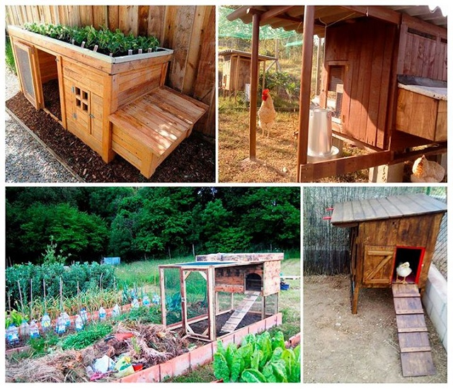 60 fa ons g niales de r utiliser les palettes en bois for How to build a chicken coop from wooden pallets