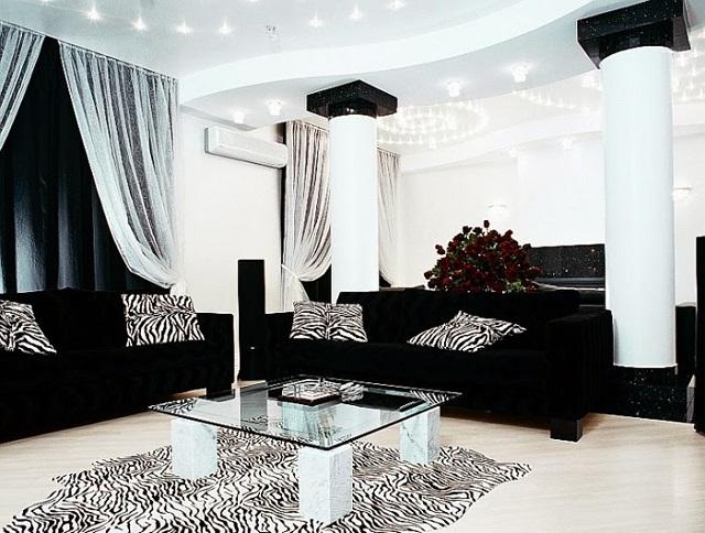 Id es de d coration pour votre salon un jour de r ve - Living room black and white theme ...