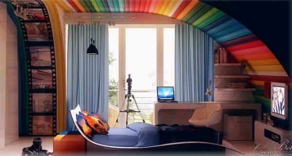 Rainbow themed kids room