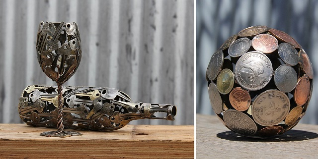 Sculptures from Keys and Coins