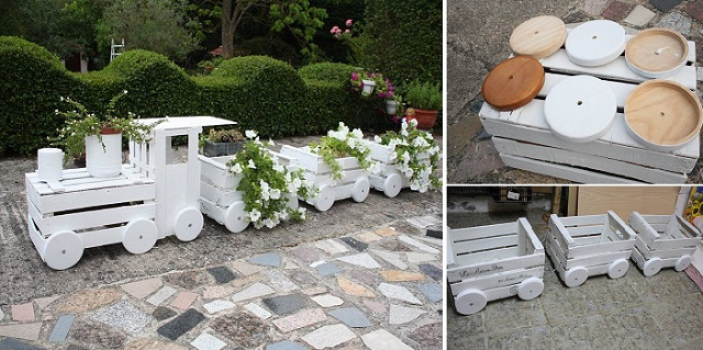 train made out of old crates