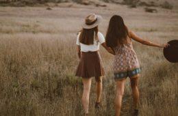 girls field walking
