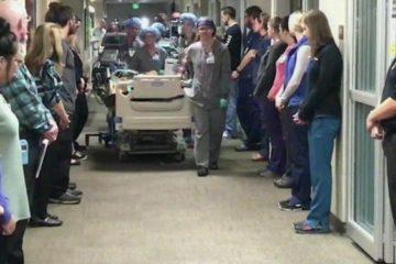 Les infirmiers font une haie dhonneur au papa dont les organes ont sauve 50 vies 725x375