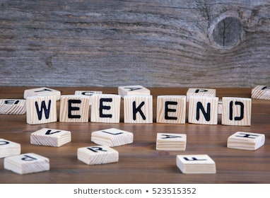 weekend wooden letters on background 260nw 523515352