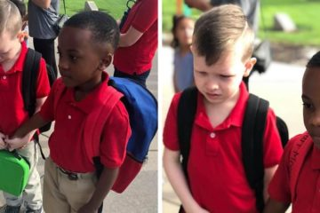 classmates holding hands autism first day of school courtney moore fb2 png  700