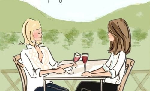 amiche che bevono vino