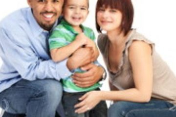 Family man with smiling kid and wife