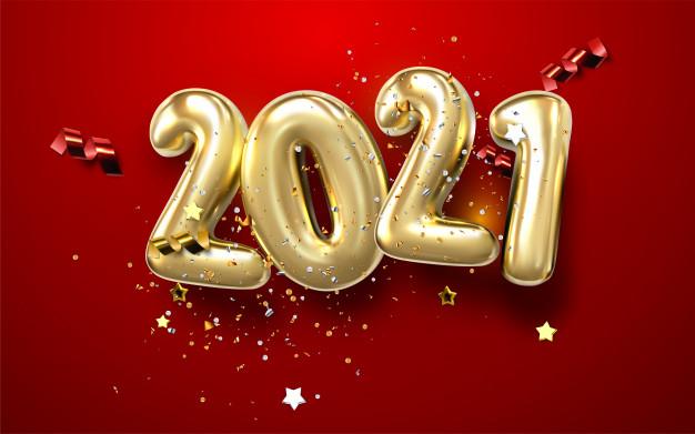feliz ano nuevo 2021 numeros dorados metal signos 3d realistas salpicadura luminosa brillante luces doradas bokeh 173043 69